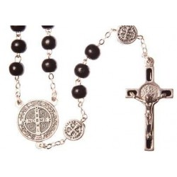 Black Wood St Benedict Rosary Bead. With Metal Crucifix and Saint Benedict Medals