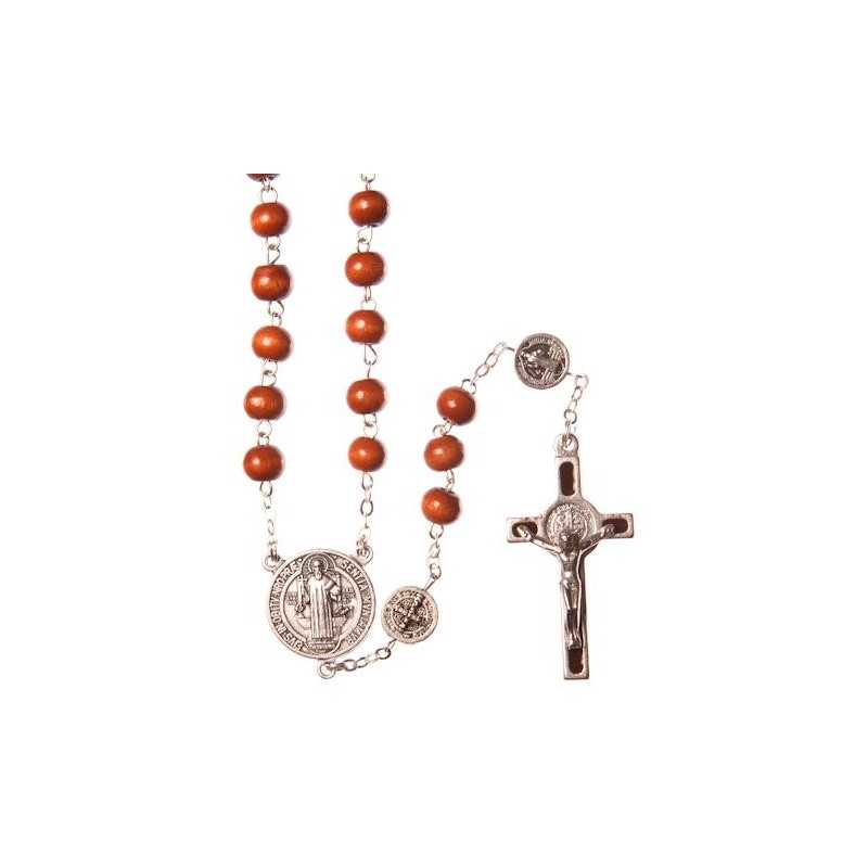 Brown Wood St Benedict Rosary Bead. With Metal Crucifix and Saint Benedict Medals