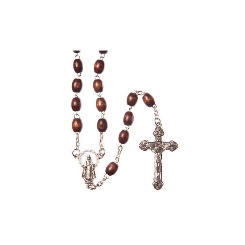 Brown Wood  Rosary Bead. With Metal Crucifix and Oval Wood Beads