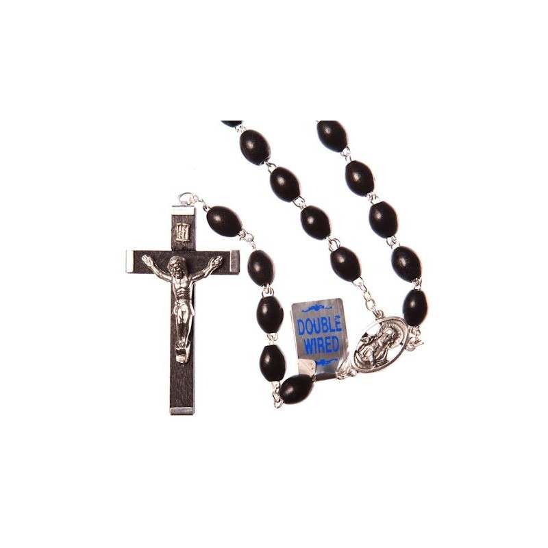 Extra Strong Double Wire Black Wood Rosary Bead.