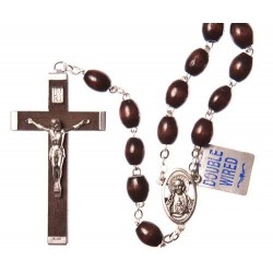 Extra Strong Double Wire Brown Wood Rosary Bead.