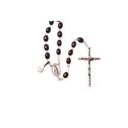 Black Wood  Rosary Bead. With Extra Strong Wire Metal Crucifix