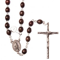 Brown Wood  Rosary Bead. With Extra Strong Wire Metal Crucifix
