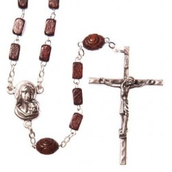Brown Wood  Rosary Bead. With Metal Crucifix and Square Wood Beads