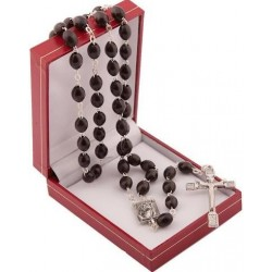 Black Wood Rosary Bead. With Risen Christ Crucifix. Supplied in Gift Presentation Case.