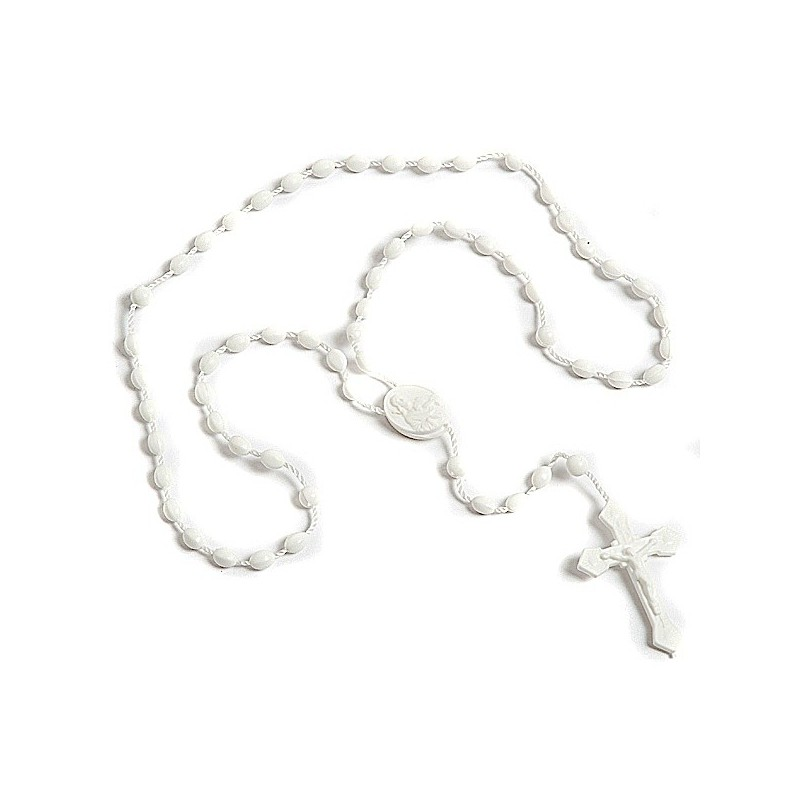 Pack of 12 Rosary Beads. White Plastic Rosaries.