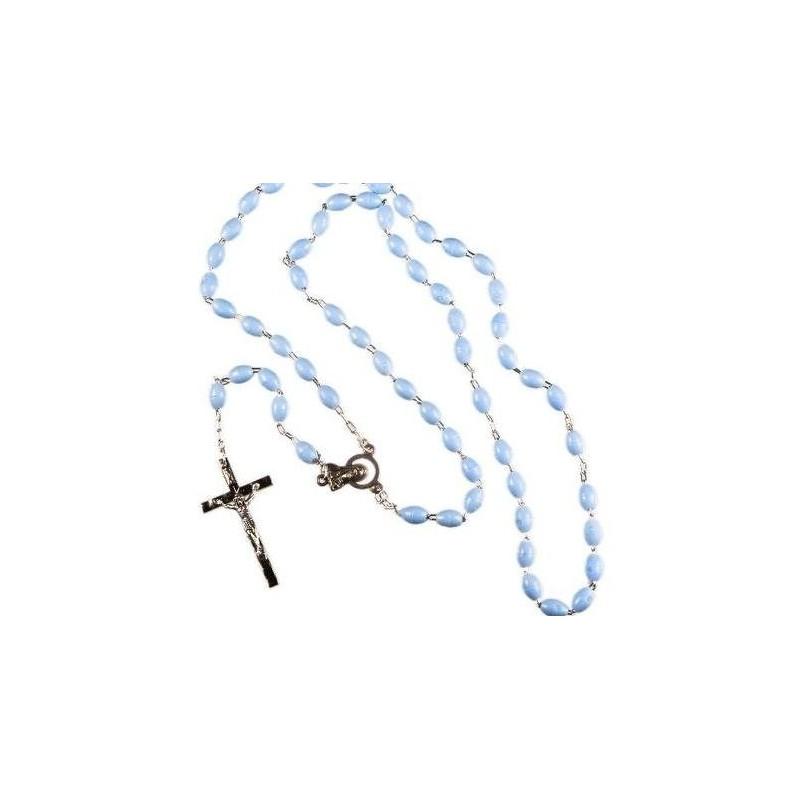 Blue Plastic Bead Rosary.
