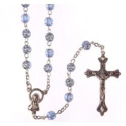 Blue 'Rose Petal' Bead Rosary.