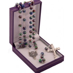 Purple Metallic Effect Rosary Beads. Supplied in Gift Presentation Case.