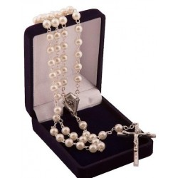 Cream Pearl Bead Rosary . Pefect First Holy Communon Rosary.