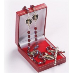 Garnet Red Divine Mercy of Jesus Rosary Beads.Supplied in Gift Presentation Case.