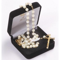 Genuine Mother of Pearl Rosary Beads. Supplied in Gift Presentation Case.