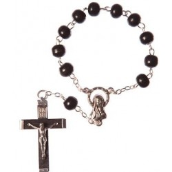 Black Wood One Decade Rosary Bead.