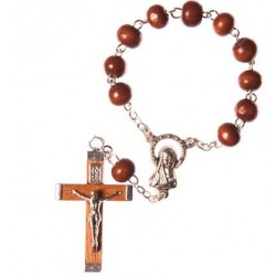 Brown Wood One Decade Rosary Bead.
