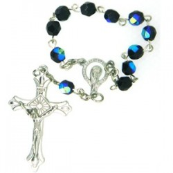 Black Cystal One Decade Rosary Bead.