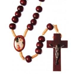 Brown Wood Rope Guardian Angel Rosary Bead
