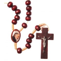 Brown Wood Rope Padre Pio Rosary Bead