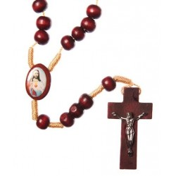 Brown Wood Rope Sacred Heart of Jesus Rosary Bead