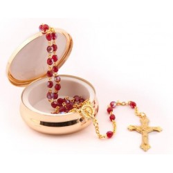 Red Rosary Beads in St Benedict Presentation Box.